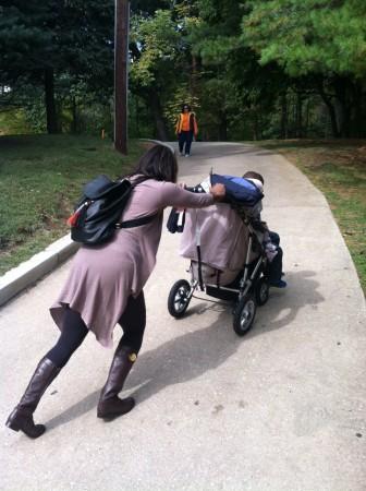 iyona pushing stroller uphill
