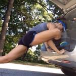 hip unlock stretch on van